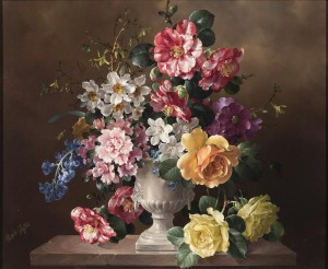 Still Life of Flowers in a White Marble Vase