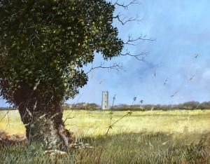 Rural Landscape with Lavenham Village Church, Suffolk