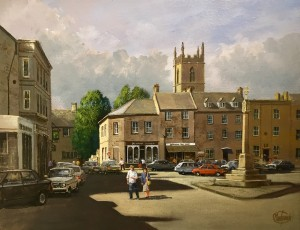The Square with St Edward's Church, Stow-on-the-Wold, The Cotswolds,