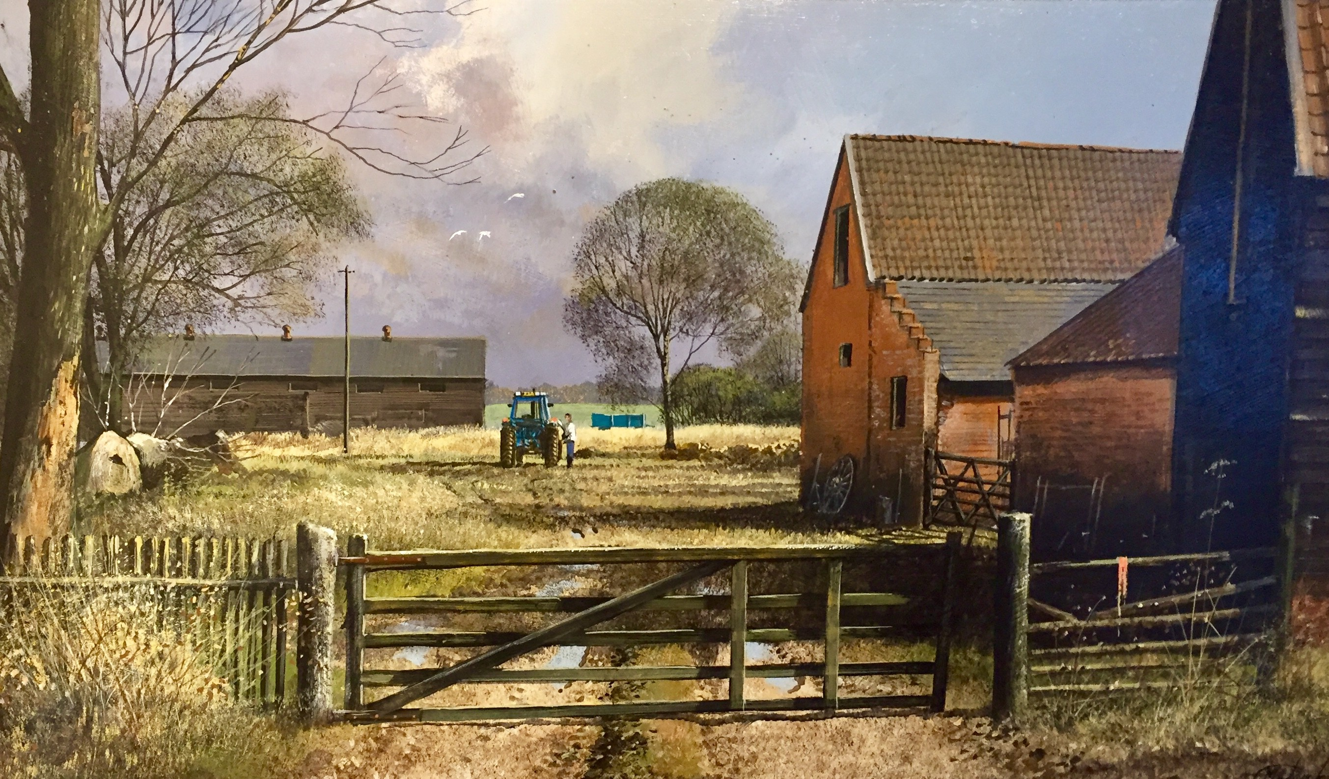 In From The Fields, Farm scene with Tractor - SOLD