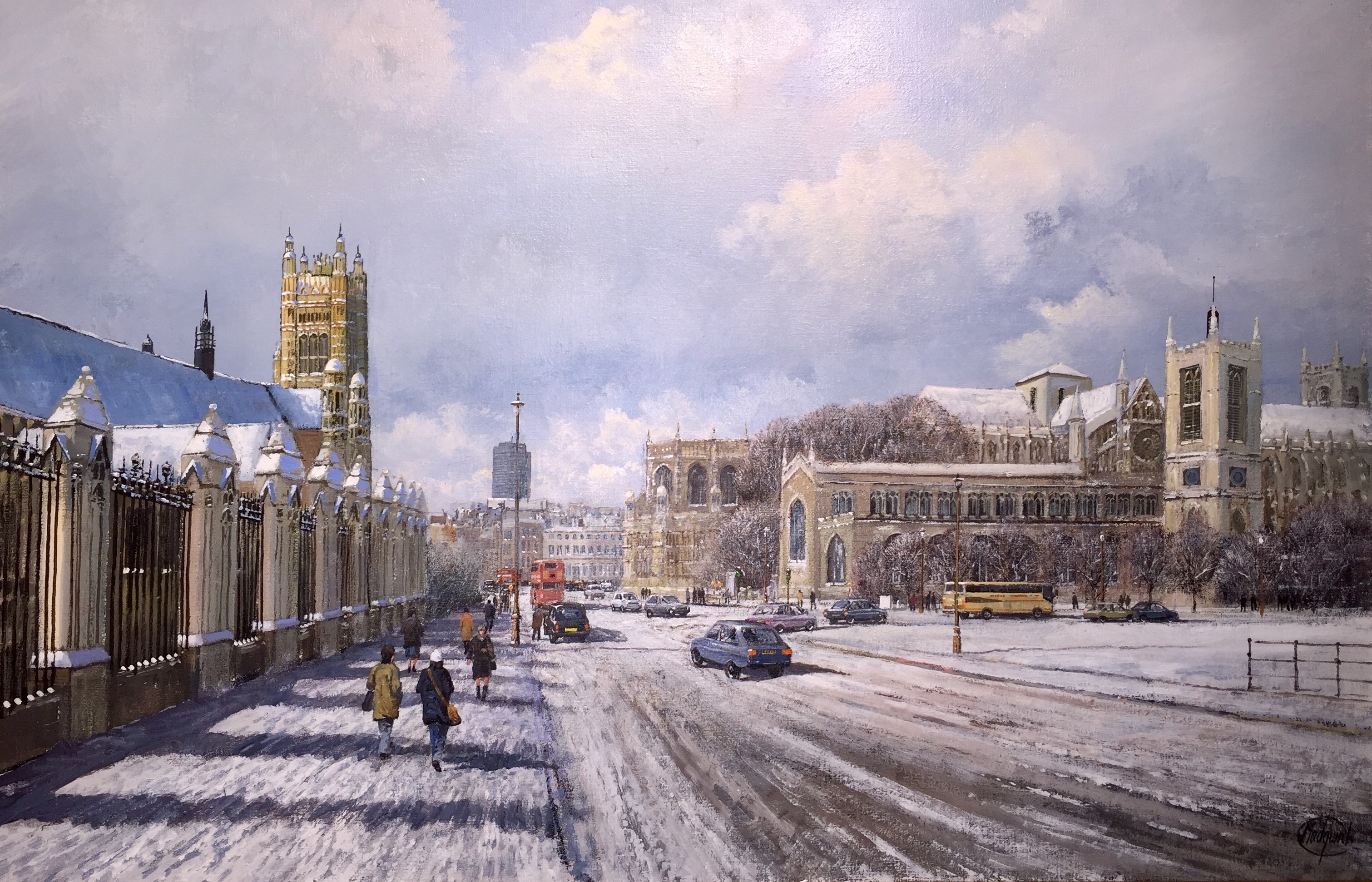 Snow at Westminster, London