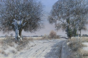 A Wintry Day With A Church Beyond - SOLD