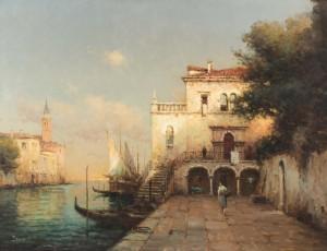 A Venetian Backwater, St Marks Tower Beyond