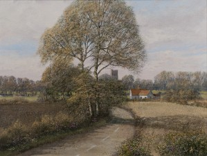 Landscape Painting with Edwardstone Church - SOLD