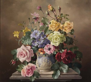 Summer Flowers in a Sculpted Urn