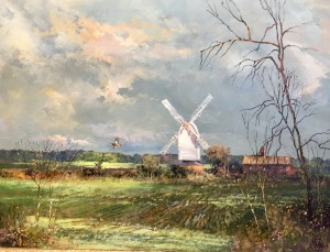 Landscape Painting with Stanton Mill, Suffolk - SOLD
