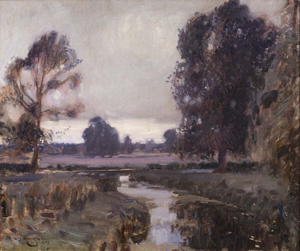 A Suffolk Pastoral - The River Dove with a Distant Clover Field - SOLD