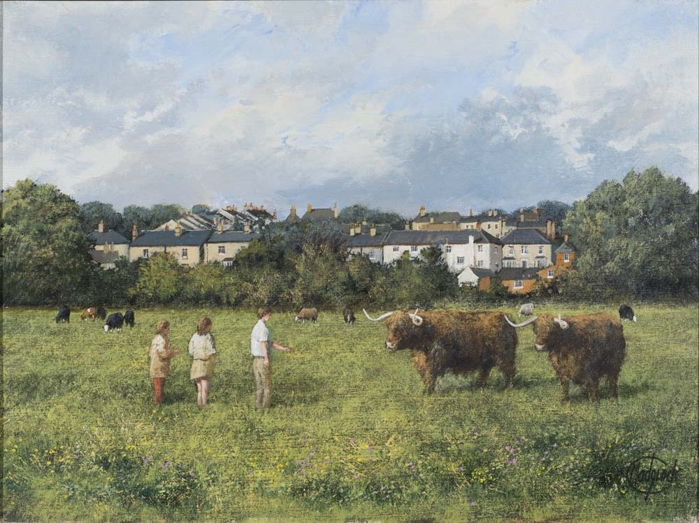 Highland Cattle at the Water Meadows, Sudbury - SOLD