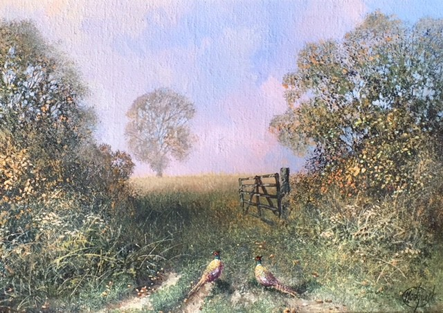 Two Pheasants by a Gate - SOLD