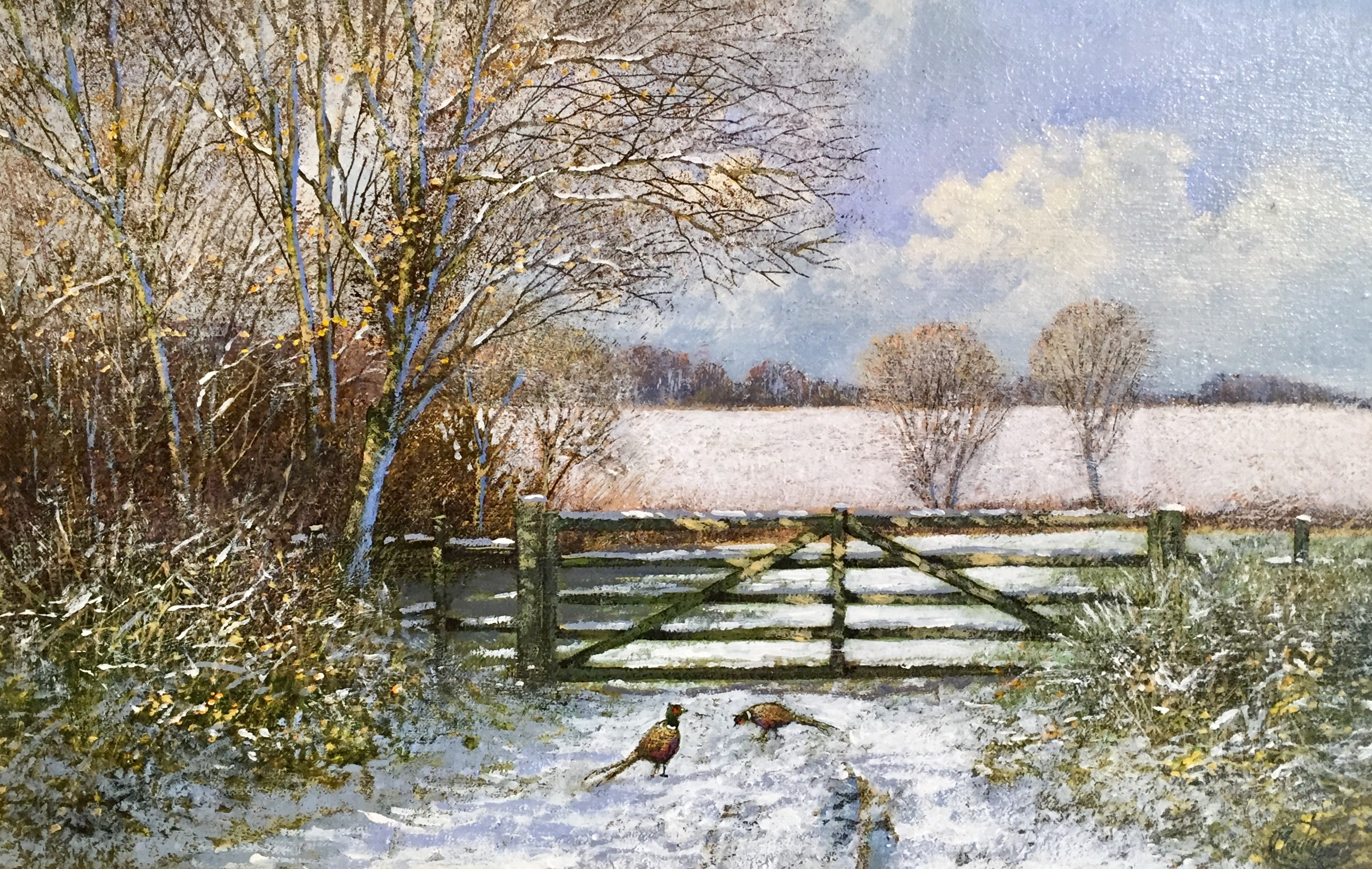 Pheasants by Old Gate, Winter Scene - SOLD