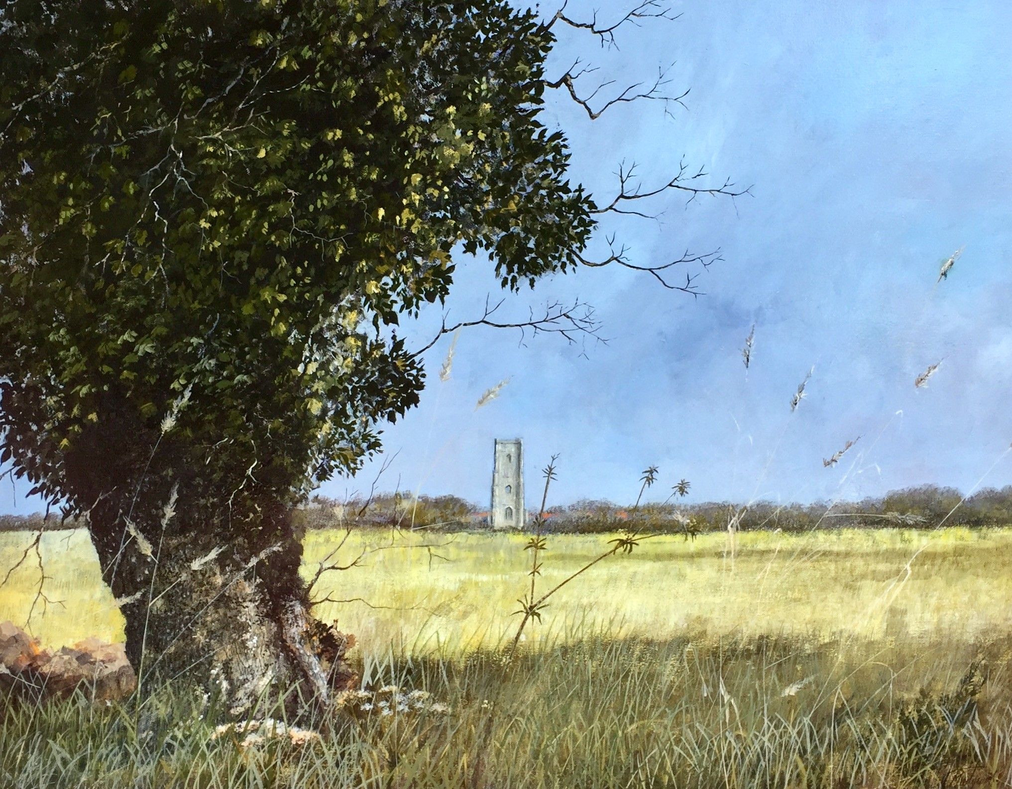 Rural Landscape with Lavenham Village Church - ON SALE