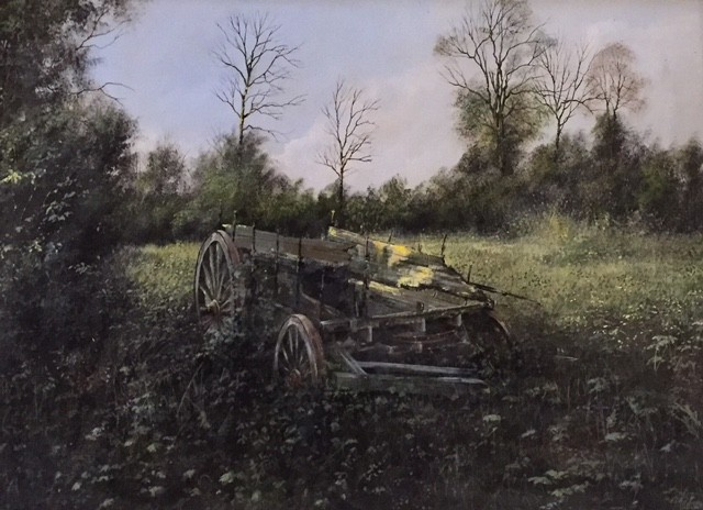The Old Cart in a Field - SOLD