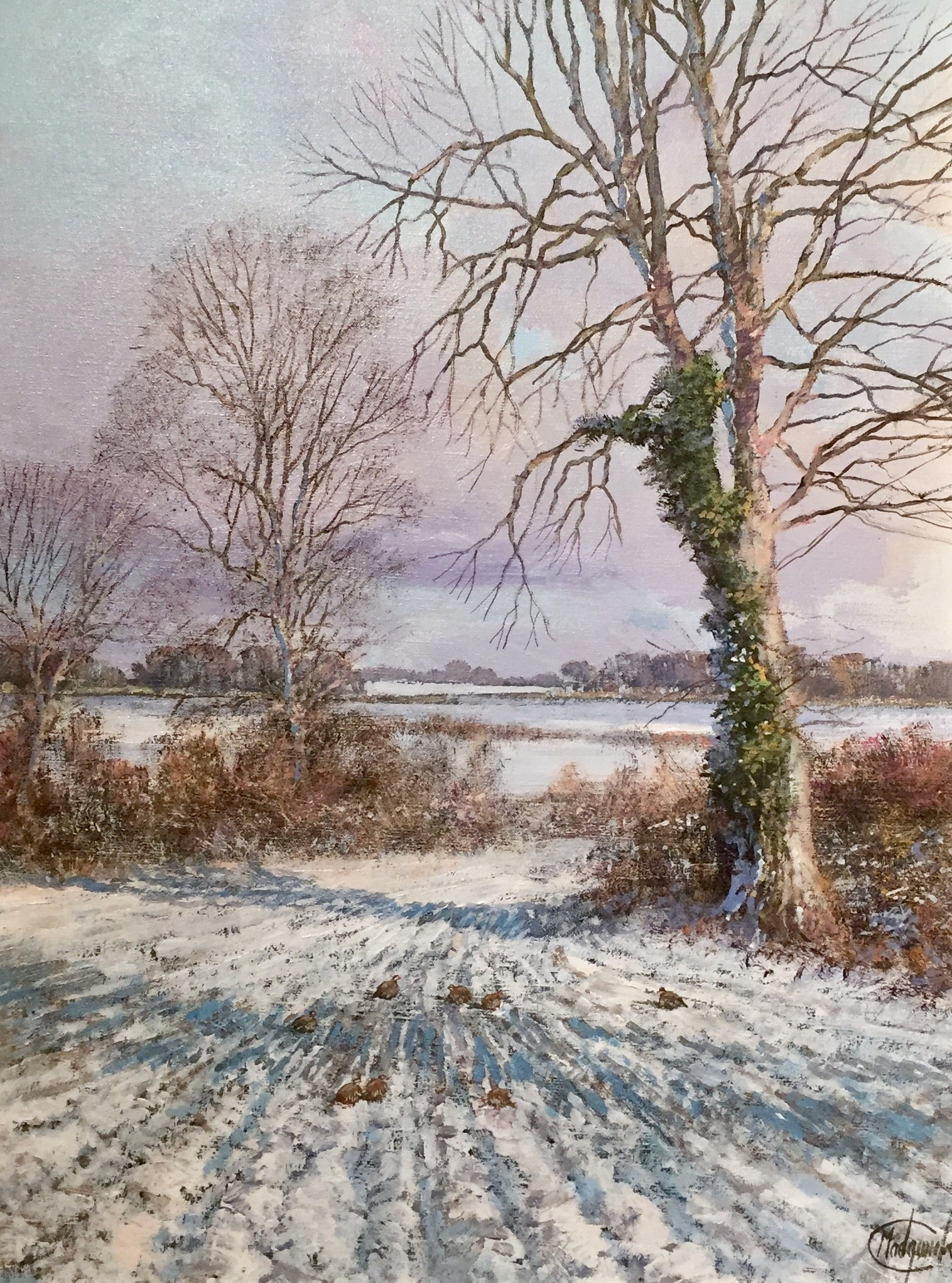 Winter Scene & Partridges - SOLD