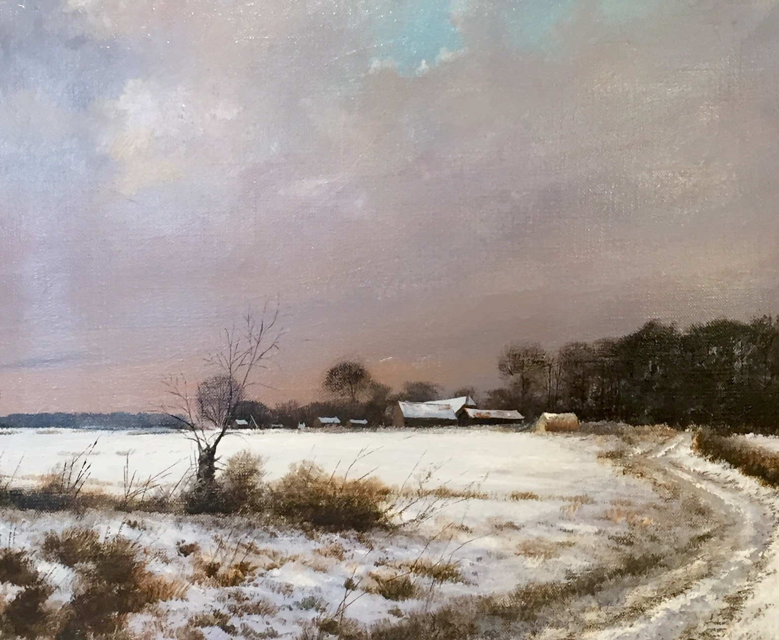Snow Covered Landscape, Suffolk - SOLD