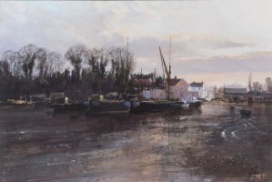 Boats in a low tide, Pin Mill, Suffolk - SOLD