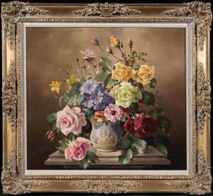 Summer Flowers in a Sculpted Urn