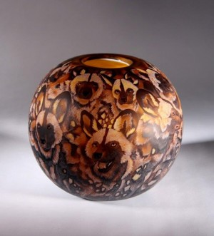 Painted Dogs Bowl Dated 2010