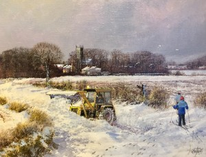 The Blocked Road, Winter Scene - SOLD