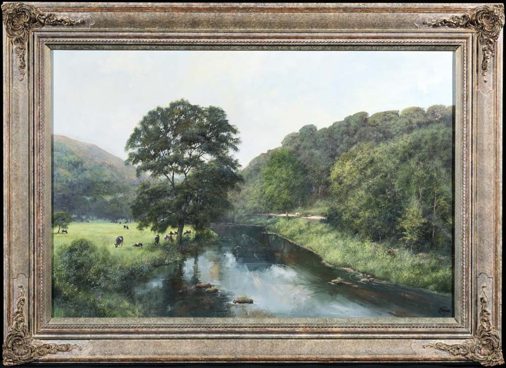 Rural River Landscape With Cattle - SOLD