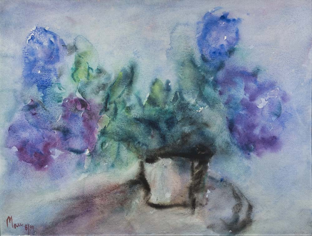 Blue Dahlias in a Vase - SOLD