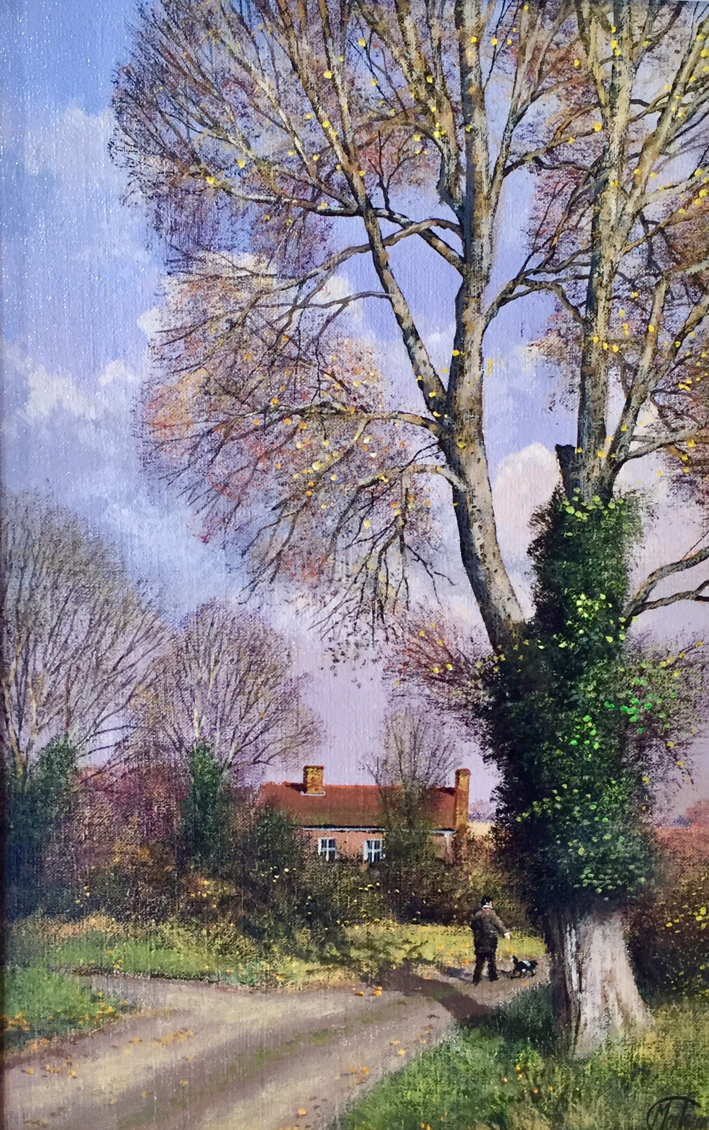 Autumn Scene, Man & His Dog - SOLD