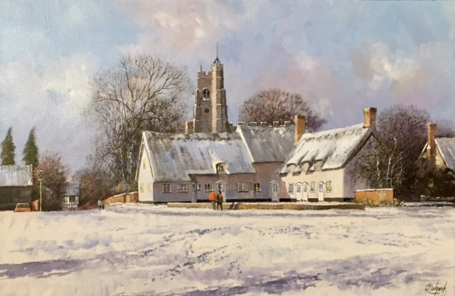 Cavendish Church & Green, Suffolk in a Winter Landscape - SOLD