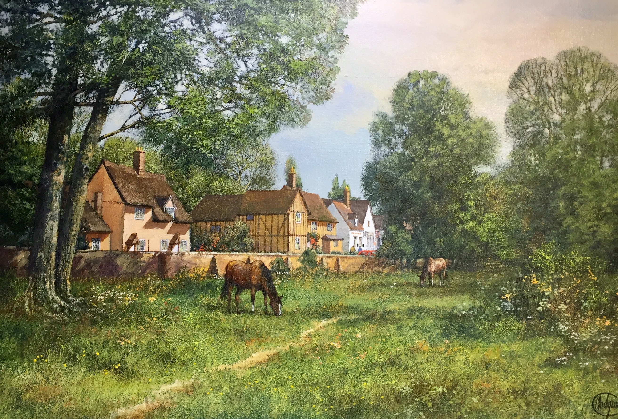 Horses Grazing at Chelsworth, Suffolk - SOLD