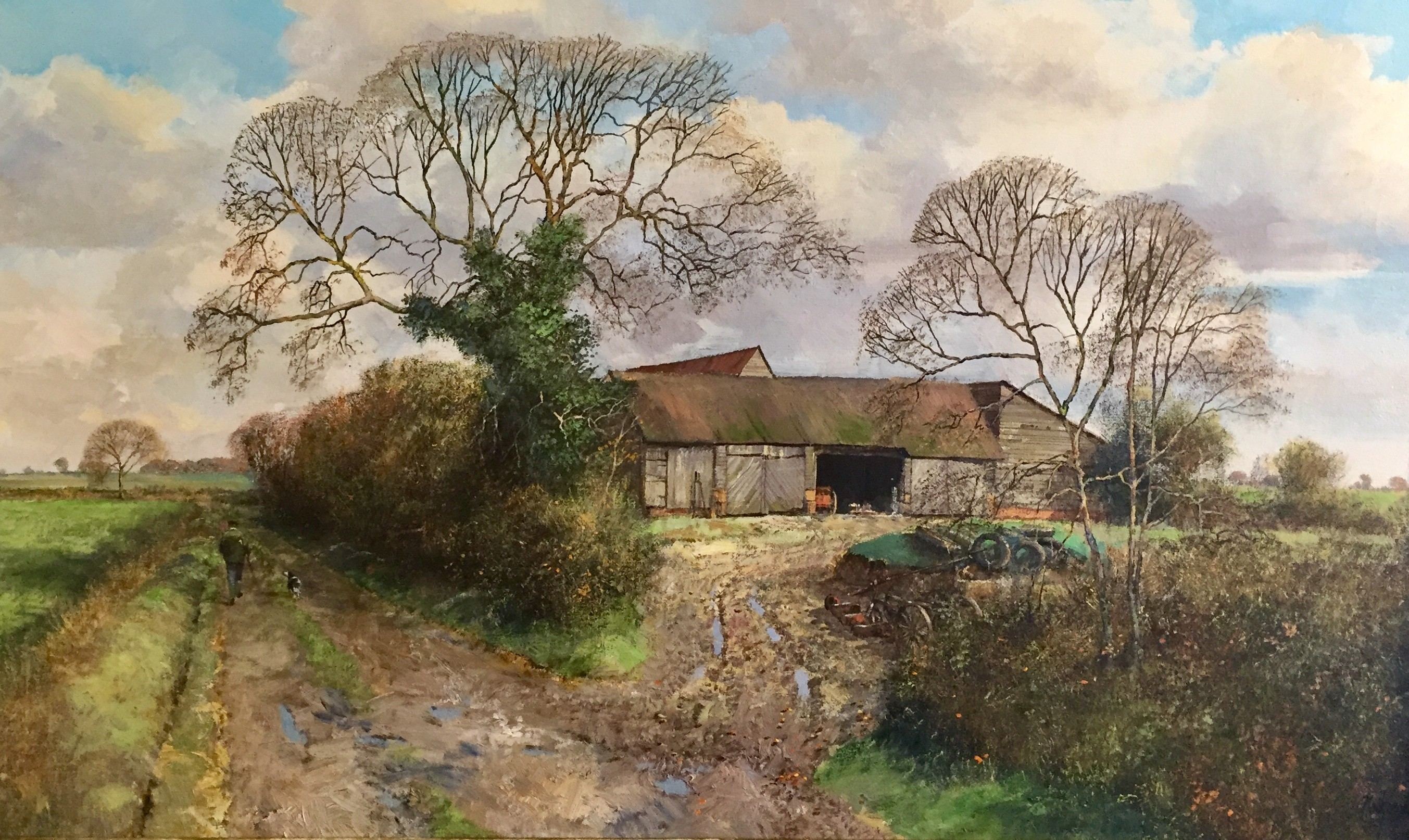 Suffolk Landscape With Farm Buildings - SOLD