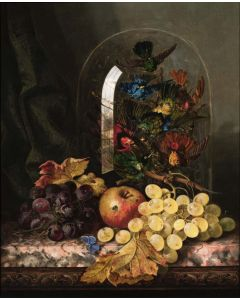Still Life of Mixed Fruit & Taxidermy of Exotic Birds - SOLD