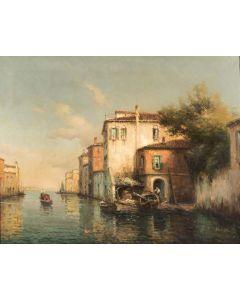 A Gondolier on a Venetian Backwater - SOLD