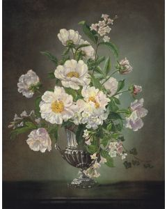 Flowers in a Silver Vase